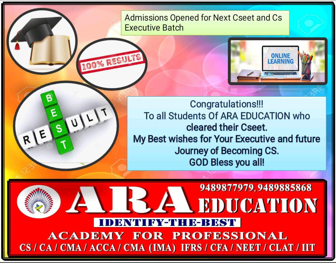 Best NO 1 Coaching Classes-Ara Education-Cseet Results Published